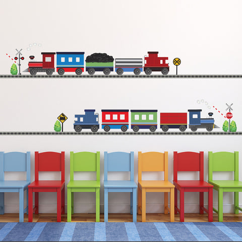 2 Freight Trains & Straight Railroad Track Wall Decals - Wall Dressed Up - 1