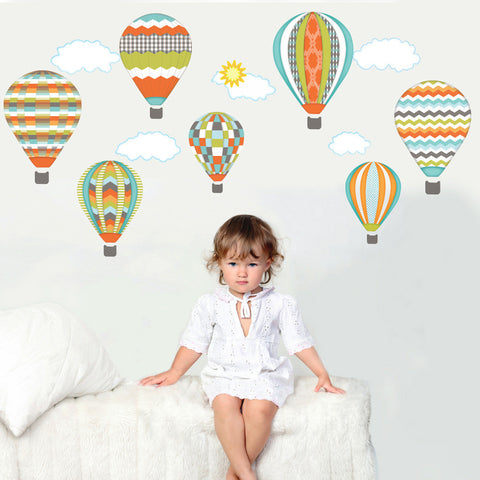 Hot Air Balloons and Clouds Wall Decals, Turquoise, Gray, Orange, Eco-Friendly Fabric Wall Decals - Wall Dressed Up