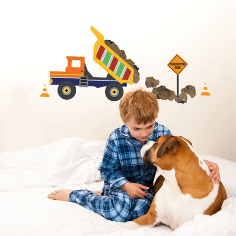 Large Dump Truck and Construction Sign Wall Decals, Eco-Friendly Wall Stickers - Wall Dressed Up