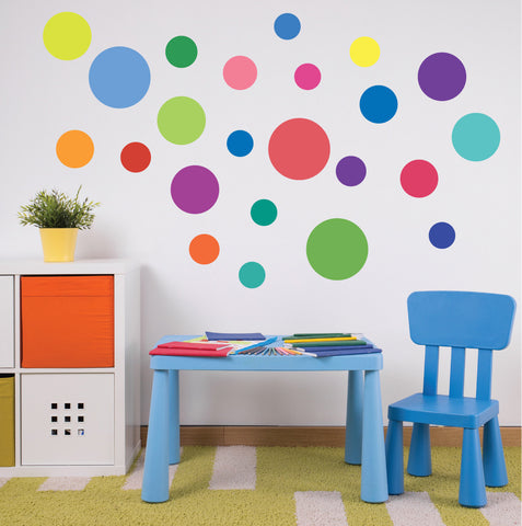 23 Multi-sized Rainbow Colors Polka Dot Decals - Wall Dressed Up