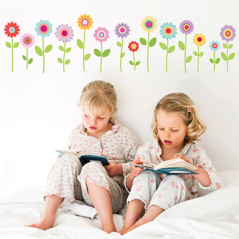Wall Decals Spring Garden Flower Decals, Fabric Peel and Stick Reusable Decals - Wall Dressed Up