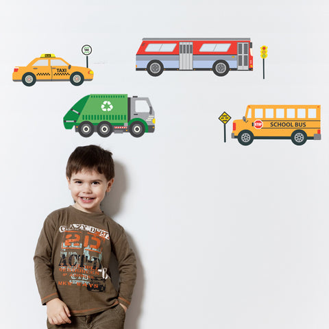 School Bus, City Bus, Taxi & Recycling Truck Wall Decals - Wall Dressed Up