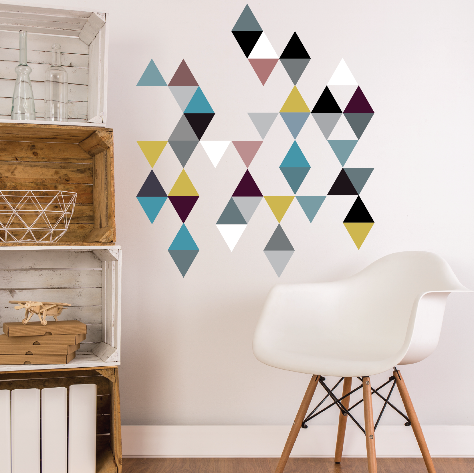 45 modern art triangle wall decals color 2 eco friendly peel and stick fabric