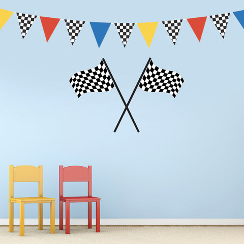 Large Checkered Flags Racing Pennants Decals, Removable Fabric Matte Stickers - Wall Dressed Up