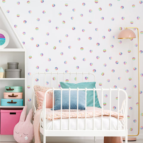 "Watercolor Rainbow Dots 2"" Polka Dot Decals, 121 Fabric Wall Decals, Nursery Decor, Eco-Friendly Peel and Stick Fabric Decals."