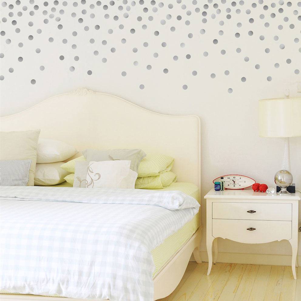 Superbe 120 Silver Metallic 2 Inch Polka Dot Vinyl Wall Decals   Wall Dressed Up