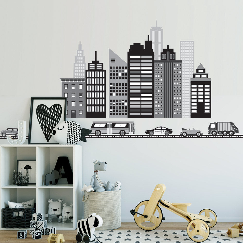 New wall decal designs wall dressed up cityscape wall decal black and white city skyline wall decal with cars and straight black amipublicfo Choice Image