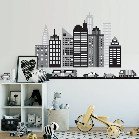 Cityscape Wall Decal, Black and White City Skyline Wall Decal with Cars and Straight Black Road