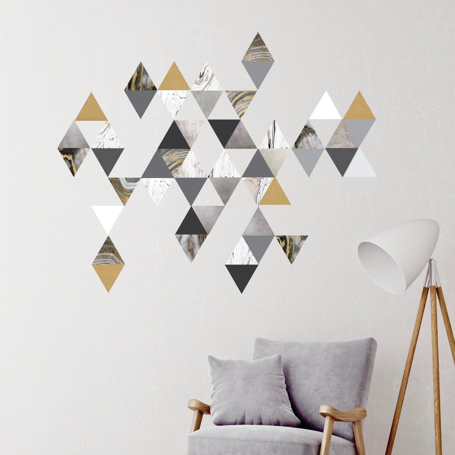 45 Modern Decals Gold Gray Marble Decals 6 Gold Triangle Decals