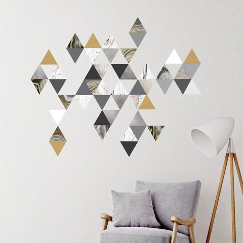 45 Modern Gold Gray Marble Decals and 6 Metallic Gold Vinyl Triangle Decals - Wall Dressed Up