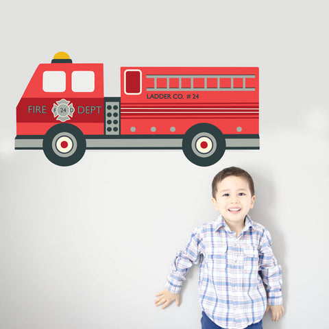 Large 4ft Fire Engine Wall Decals, Firetruck Decal Eco-Friendly Matte Fabric Decal - Wall Dressed Up