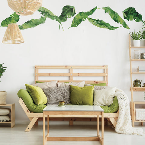 8 Medium Banana Leaves Wall Decals, Matte Fabric Tropical Decals - Wall Dressed Up