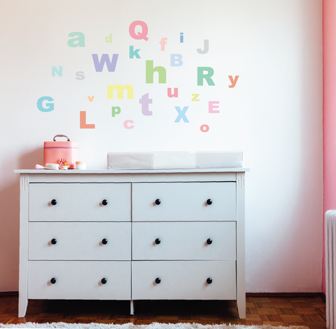 A-Z Pastel Alphabet ABC's Fabric Wall Decals - Wall Dressed Up