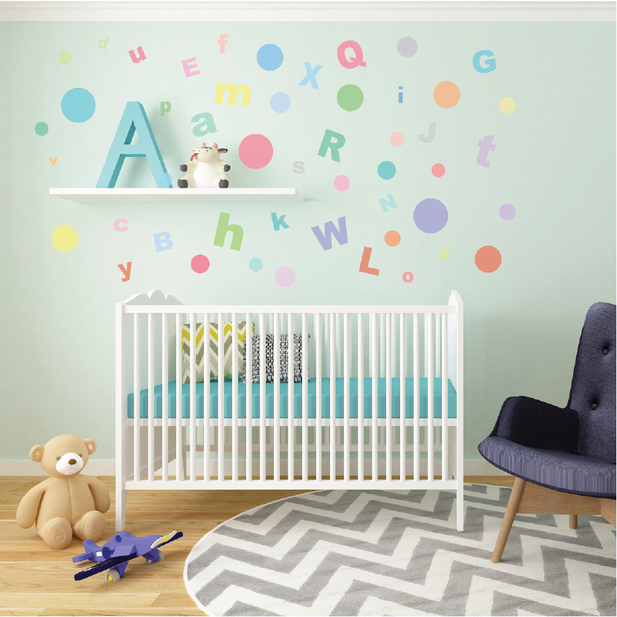 A Z Alphabet ABCu0027s U0026 23 Multi Sized Sorbet Dot Fabric Wall Decals   Wall  Dressed Up