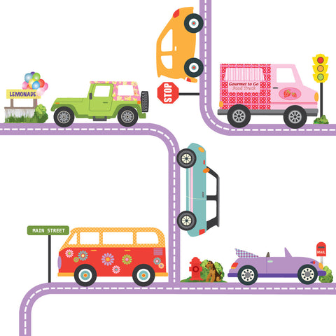 Colorful Girls Adventure Cars Wall Decals with Road Purple Straight and Curved - Wall Dressed Up