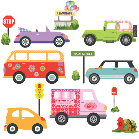 Colorful Girls Adventure Cars Wall Decals, Eco-Friendly Matte Wall Stickers - Wall Dressed Up