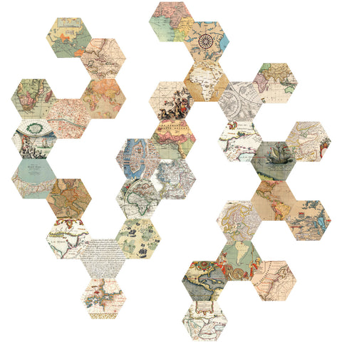 32 Hexagon Map Wall Decals, Peel and Stick Vintage World Map Wall Stickers