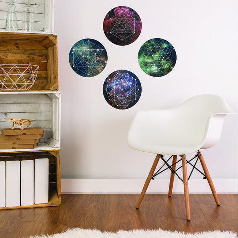 Space Galaxy Geometry Wall Decals, Reposition and Reuse - Wall Dressed Up