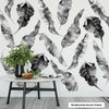 8 Large Banana Leaves Wall Decals, Black Gray White Eco Friendly Matte Tropical Leaf Decals - Wall Dressed Up