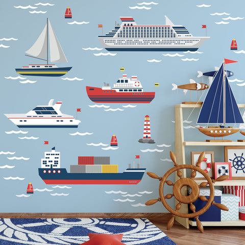 Nautical Wall Decals, Boat Wall Decals, Sailboat and Ship Wall Stickers and Ocean Waves, Nursery Decals, Matte Removable Kids Wall Decals - Wall Dressed Up