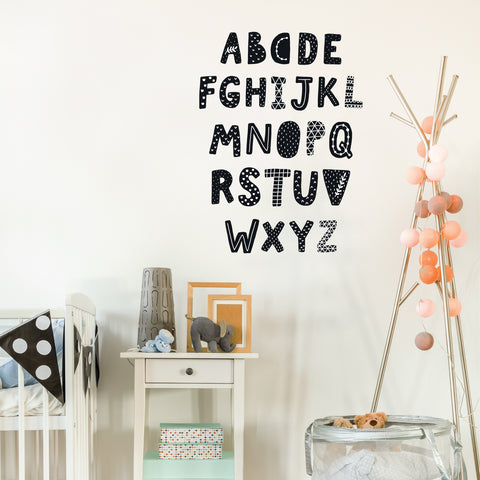 Alphabet Decals, Black and White, ABC's, Scandinavian Design Wall Stickers - Wall Dressed Up