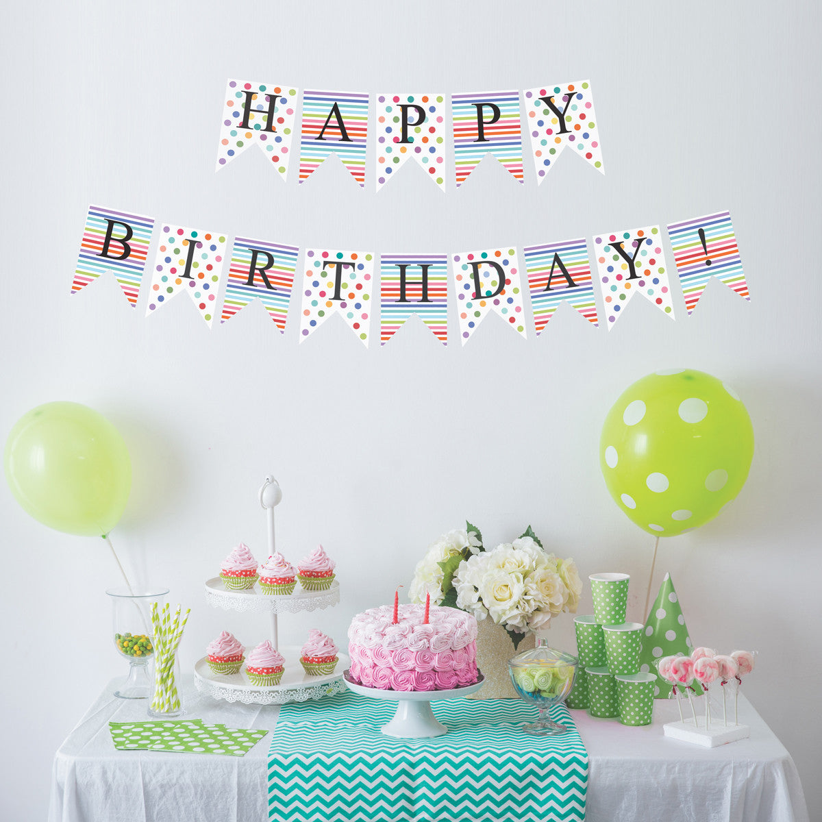 Happy Birthday Bunting Flags Wall Decals Eco Friendly Matte Party Dec