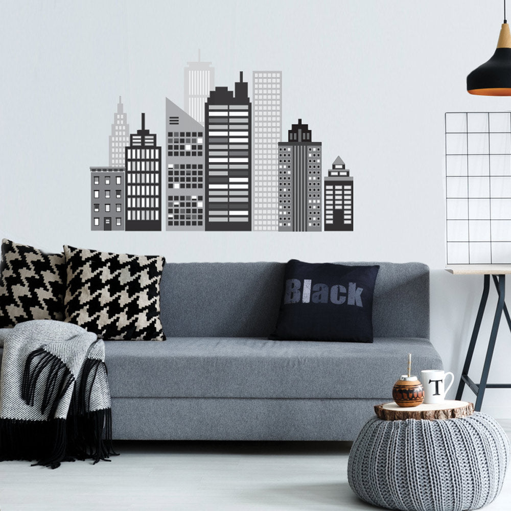 Cityscape wall decal black and white city skyline wall stickers cityscape wall decal black and white city skyline wall stickers amipublicfo Choice Image