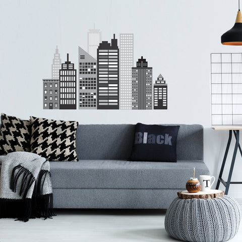 Cityscape Wall Decal, Black and White City Skyline Matte Fabric Wall Stickers - Wall Dressed Up