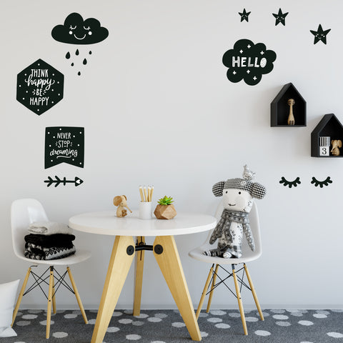 Scandinavian Decals, Black and White, Sleepy Eyes, Clouds, Arrow, Stars, Fabric Wall Decals - Wall Dressed Up