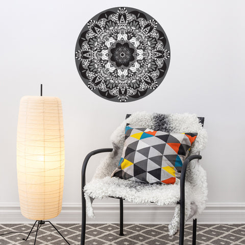 "Black and White Boho Mandala Fabric Wall Decal 24"" or 36"" - Wall Dressed Up"
