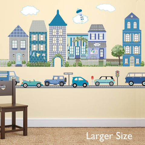 Large Town Wall Stickers and Adventure Car Wall Decals with 2 sheets Straight Gray Road, Removable & Reusable Decals