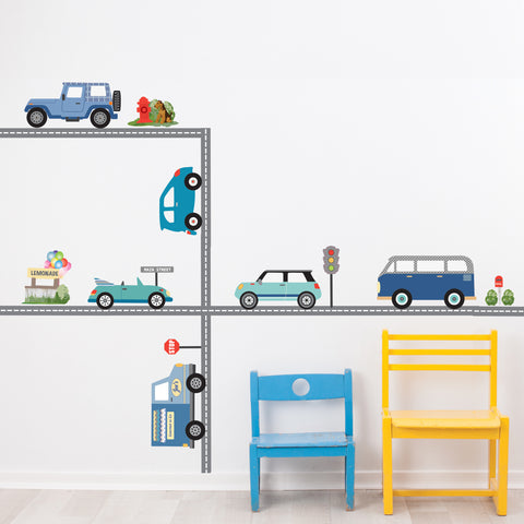 Blue Adventure Car Wall Decals, Transportation Wall Decals, Road Wall Decals, Removable Wall Stickers
