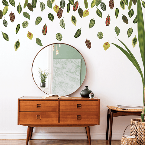Leaf Wall Decals, Botanical Leaves Wall Decals, Autumn Leaves, Fall Leaves Wall Stickers, Repositionable and Reusable