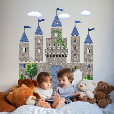 Stonewall Castle with Blue Turrets & Flags Wall Decals - Wall Dressed Up
