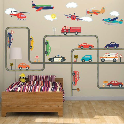 Car Wall Decals, Emergency Vehicle Decals, Airplane Decals, Gray Straight & Curved Road Wall Stickers, Removable Reusable Wall Decals - Wall Dressed Up