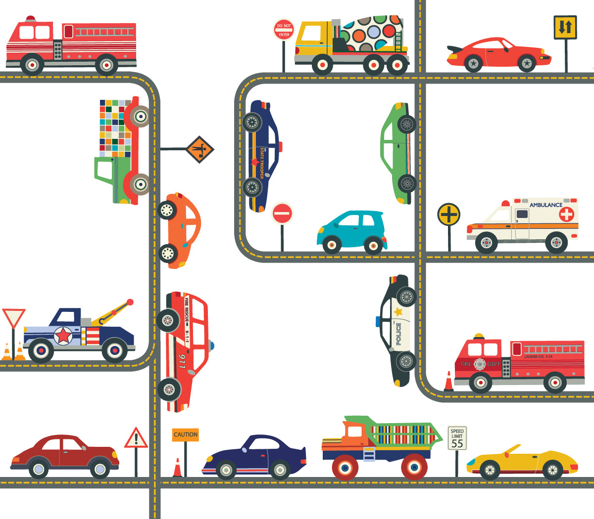 Transportation decals wall dressed up cars trucks ems vehicles wall decals plus gray road curved and straight amipublicfo Gallery