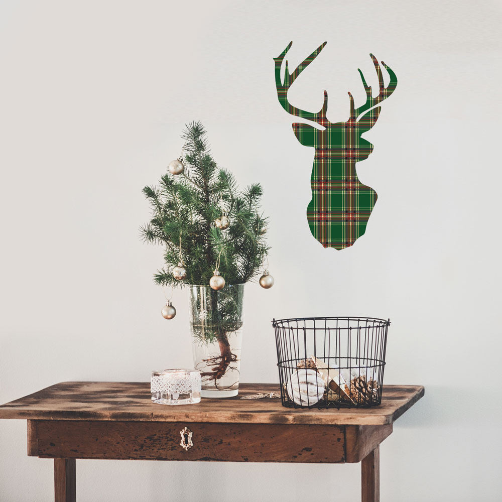 Red Or Green Plaid Deer Trophy Holiday Wall Decal In 2 Sizes   Wall Dressed  Up