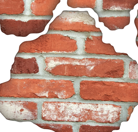 faux brick breakaway fabric wall decals, peel and stick, eco friendly