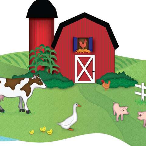 Red Barn With Farm Animals Wall Decals
