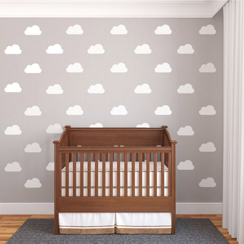 25 White Nursery Cloud Vinyl Wall Decals - Wall Dressed Up