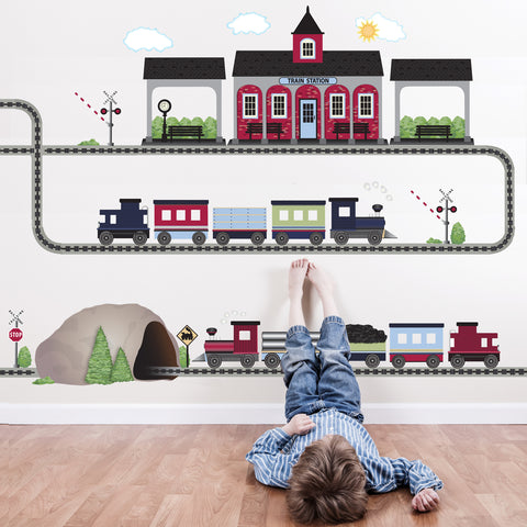 2 Freight Trains, Train Station & Tunnel Train Wall Decals, Straight & Curved Railroad Track Col.2 - Wall Dressed Up