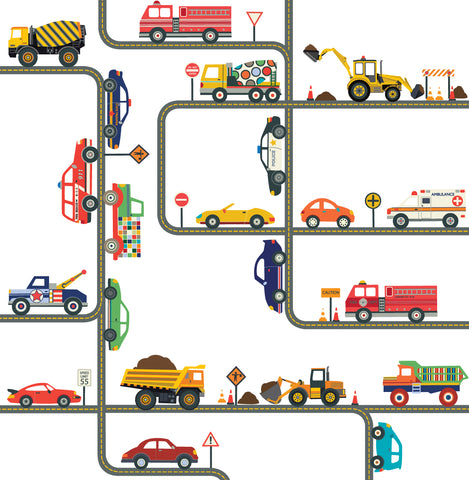 Cars, Trucks, EMS and Construction Vehicle Wall Decals plus Gray Road Curved and Straight - Wall Dressed Up
