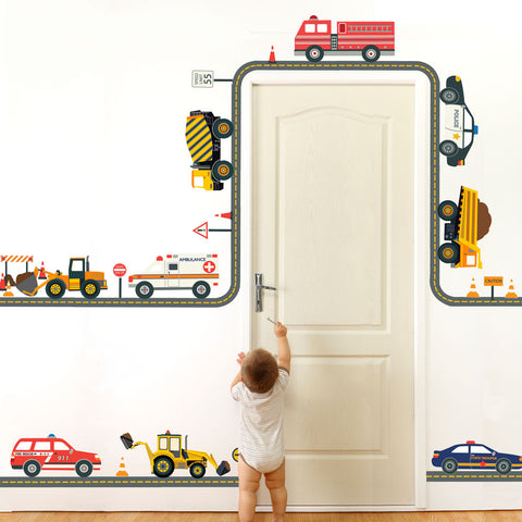 Construction and Emergency Vehicle Wall Decals with Straight and Curved Gray Road - Wall Dressed Up - 1