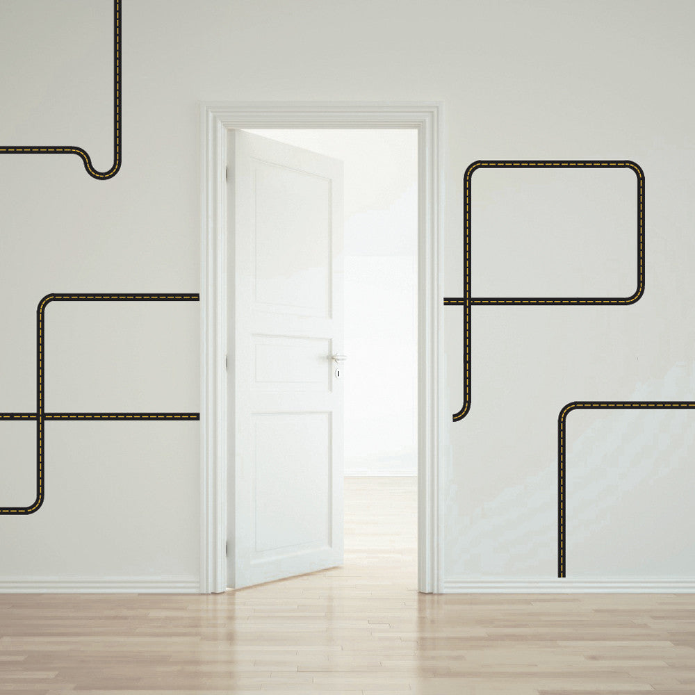 Black road wall decals curved and straight yellow stripes wall dressed up