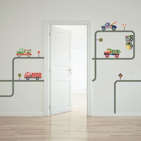 Terrific Trucks and Gray Road Wall Decals Curved and Straight - Wall Dressed Up - 1
