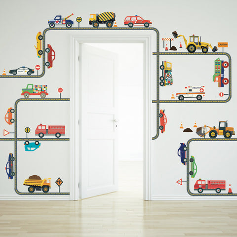 cars, trucks, ems and construction vehicle wall decals plus gray road