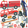 Construction and Emergency Vehicle Wall Decals with Straight and Curved Gray Road - Wall Dressed Up
