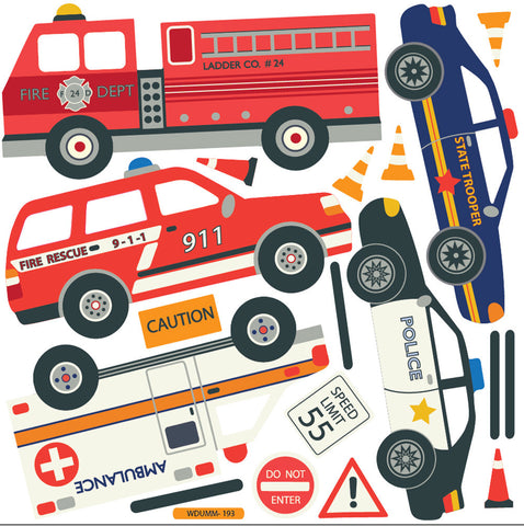 Cars Trucks EMS Vehicles Wall Decals Plus Gray Road Curved And - Decals and stickers for cars