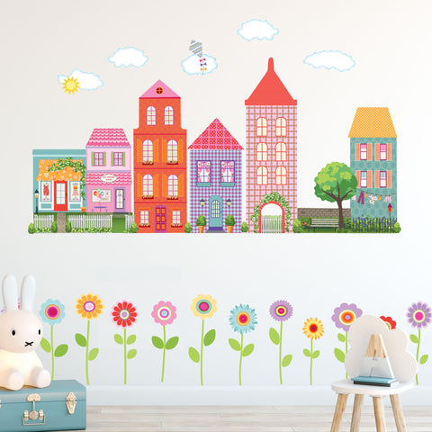 Girl's Dollhouse Town Wall Decals with Flower Border, Eco-Friendly Flower Wall Stickers, CItyscape Wall Decals, Girls Wall Decals - Wall Dressed Up