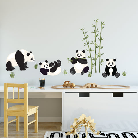 Panda Wall Decals and Bamboo Decals, Nursery Wall Stickers, Animal Wall Decals, Eco Friendly Removable Wall Stickers - Wall Dressed Up